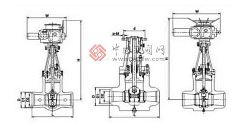 电站焊接闸阀有两种标准形式,一种是遵循ANSIB16.34和JISL1E101标准的引进型,另一种是按JB3595标准的国标型。其遵循的温度-压力等级是一致的,在一些管道中存在着某种互换关系。电站焊接闸阀中部采用无阀盖压力自紧式,在高温高压工况下具有良好的密封性能。自密封圈有两种材料,一种是低碳钢,另一种是柔性石墨316丝(网)。密封面上层焊钻基硬质合金,其加工后的纯金属层3mm,具有耐磨、耐高温、抗腐蚀、抗擦伤、使用寿命长。支管两端为焊接结构,焊按坡口可按标准或用户要求制作。电站焊接闸阀适用于火电厂、石